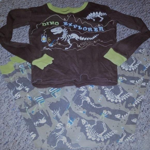 NWT Gymboree Boys Dino Dinosaur Gymmies Pajama Set Pj cotton Long Sleeve